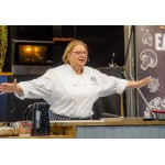 Rosemary Shrager purchases not one but two tea towels at Badminton!!